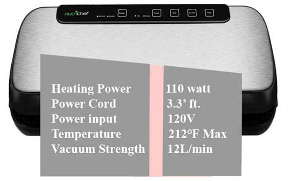 NutriChef-vacuum-sealer-heating-power